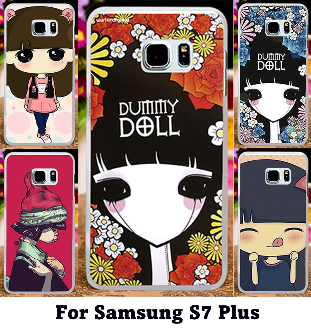 Colorful Puppet Doll Cute Case For Samsung Galaxy S7 Plus 6.0 inch Lovely Ghost baby\Retro Style illustration Girl Cover(China (Mainland))