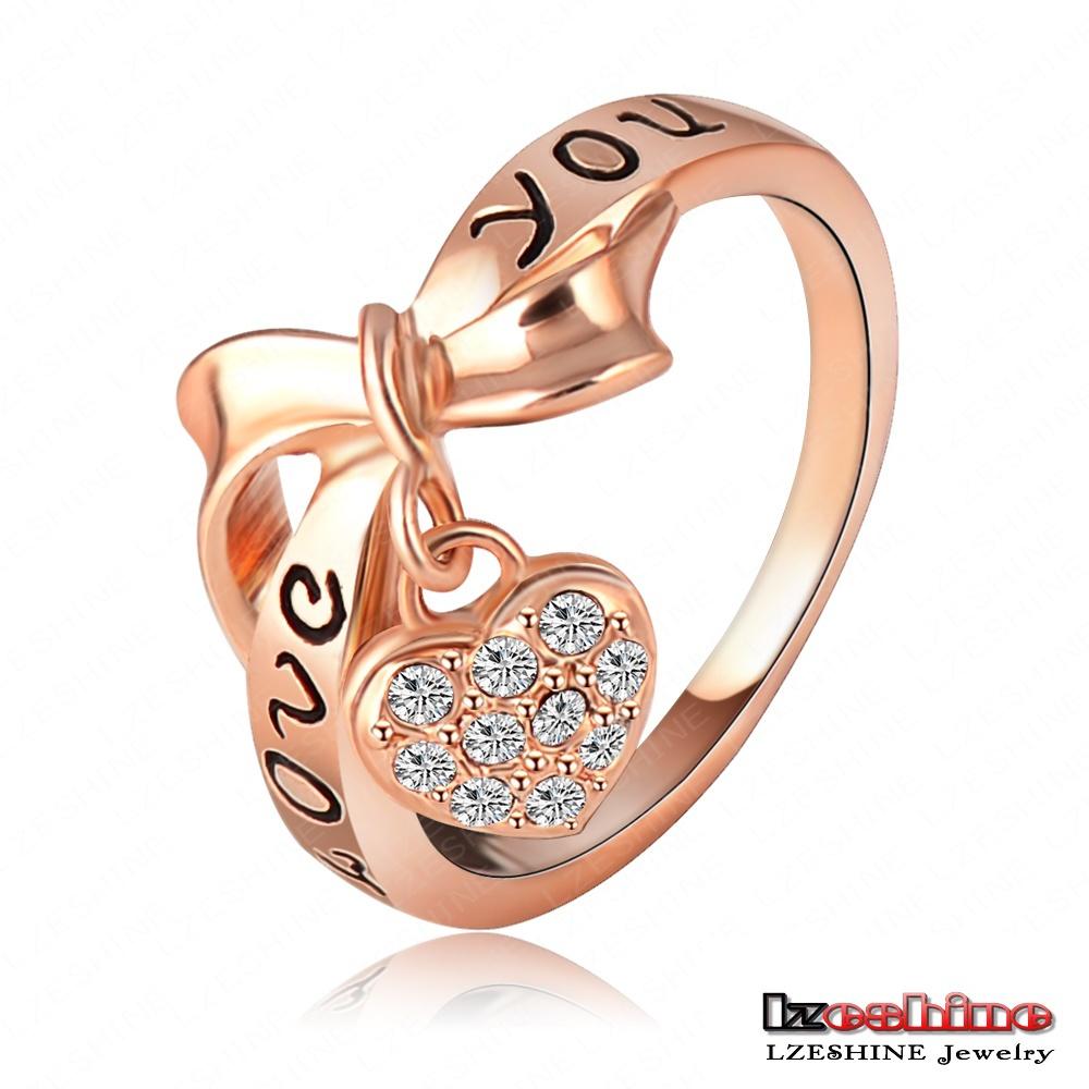 LZESHINE Brand Black Enamel Love You Letter Ring Heart Bow 18K Rose Gold Plate Austrian Crystal