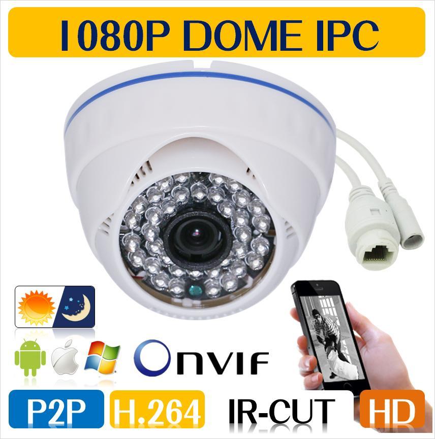 Freeshiping 1080P 2.0MP Family Mini Dome Security IP Camera ONVIF 2.0 indoor IR CUT Night Vision P2P Plug and Play
