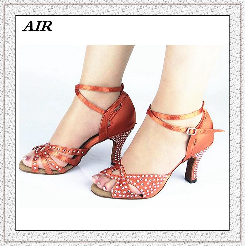 Customizable Fitness Peep Toe Med Or High Heel Satin Women's Salsa Ballroom Tango Latin Dance Shoes Pink Rhinestone