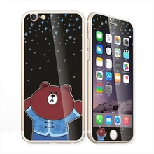 Glow in the dark luminous cartoon bear Tempered Glass film Screen Protector front+back cover for iPhone 6 case 6S 6 Plus
