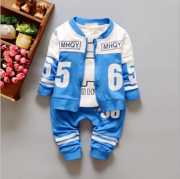 New Spring 2016 collection Boy / autumn fashion cotton long-sleeved pants suit three boy's casual clothing Free Shipping(China (Mainland))