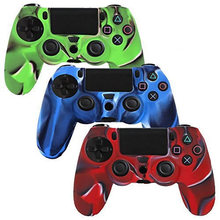 P&Y,  3 Pack Combo Protective Silicone Case for Sony Playstation 4 Ps4 Controller- Camouflage Red / Blue / Green Color