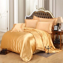 luxury pure satin solid 100% silk bedding set golden bedclothes,duvet cover flat sheet King queen size 4pcs/6pcs Christmas gift(China (Mainland))