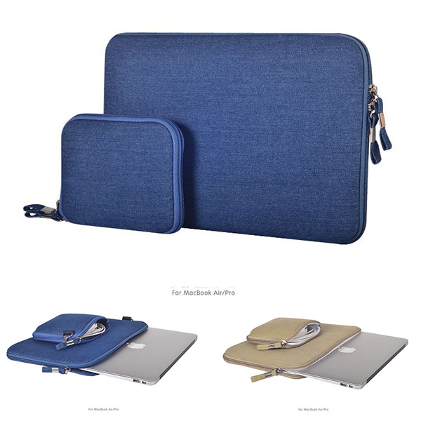 2015 High Quality Denim fabric Laptop Bag Air 11 '' 13 '' Pro 13 '' 15 '' Briefcase Case For Macbook + Gift power adapter bag(China (Mainland))