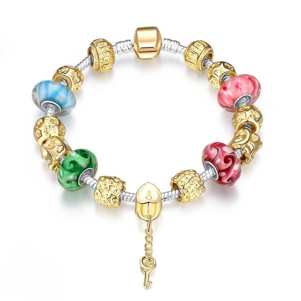 Msyo Romantic Mutilcolor Beads Charm Bracelets&Bangles With Key Pendant Antique Silver Bracelets For Women MYPBR08(China (Mainland))