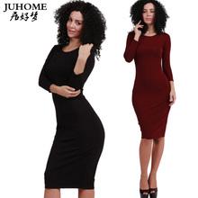 Buy Brand Women Cotton Dress Sheath Solid Knee-Length O-Neck Fashion Long Sleeve Bodycon office Dresses Slim Elegant Club Vestidos for $10.40 in AliExpress store