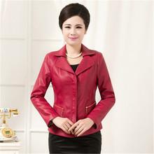 XL-6XL 2016 New Fashion Women Middle-Aged Spring Autumn Short Slim Lapel Zippers Leather Jacket Plus Size Casual Coat LJ1679(China (Mainland))