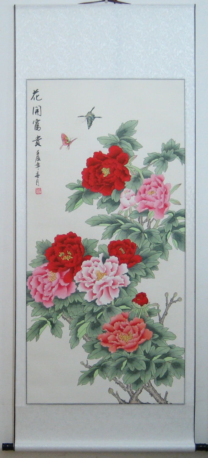 Free EMS Rich Peony butterfly Home bedroom Hand-painted rice paper traditional Chinese watercolor flower ink painting murals(China (Mainland))