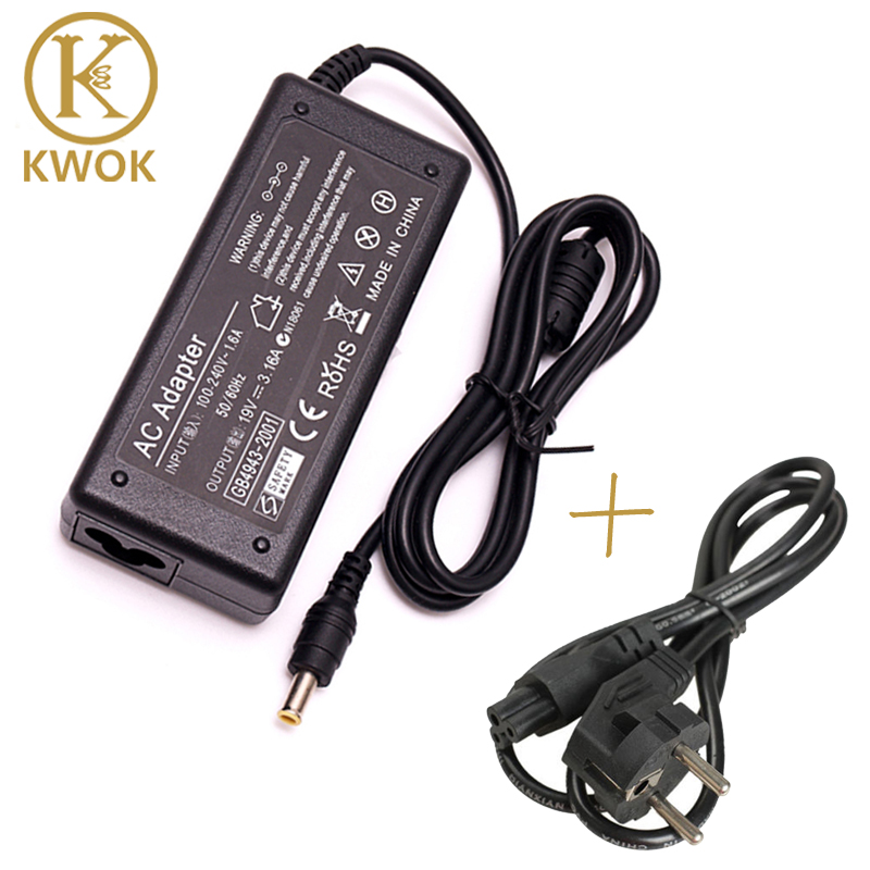 EU Power Cord Cable + 19V 3.16A AC Power Laptop Adapter For samsung Notebook R540 R430 R440 R480 R510 R530 Series Charger(China (Mainland))