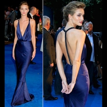 Famous 2017 Sexy Deep V-neck Mermaid Evening Dress Silk Beads Backless Full Length Celebrity Dresses Party Gown robe de soiree(China (Mainland))