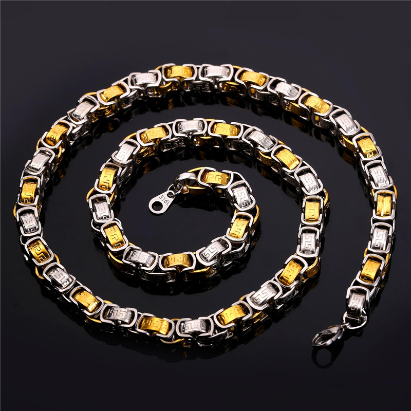 3D Design Vintage G Chain Necklace Men's Jewelry 22''/26'' Men Chains Stamp Multi-Tone Gold Stainless Steel Necklace New GN1635(China (Mainland))