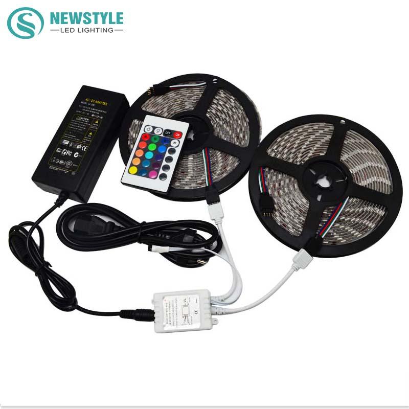 2*5M DC12V 60LEDs/M LED Strip WaterptoofIP65 RGB 5050 SMD Light Strips + 24 Keys IR Remote Controller +12V 6A Power(China (Mainland))