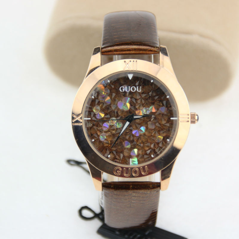 Гаджет  2015 GUOU Quality Luxury Diamond Women Dress Watches Casual Bracelet Wristwatches Clock None Часы