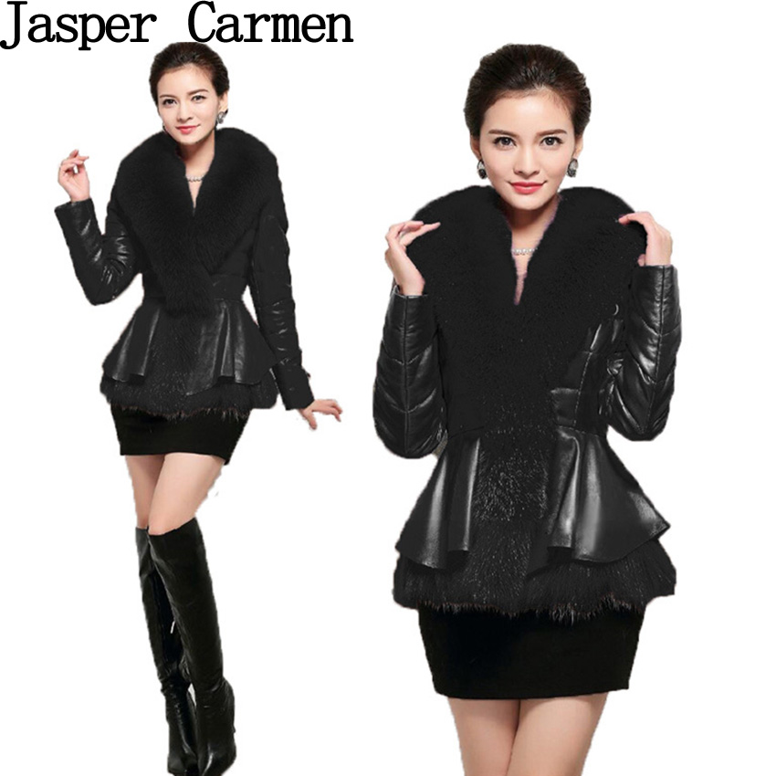 free shipping quality keep warm winter leather jacket coat with fur collar , women clothing 188(China (Mainland))