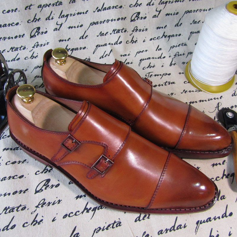 Goodyear buckle strap mens leather shoes handmade full leather high-end customize men leather shoes<br>