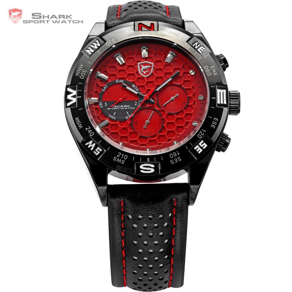 Гаджет  Genuine SHARK Mens 6 Hands Date Day Stainless Steel Case Leather Band Red Sport Swiss Movement Analog Quartz Wrist Watch / SH082 None Часы