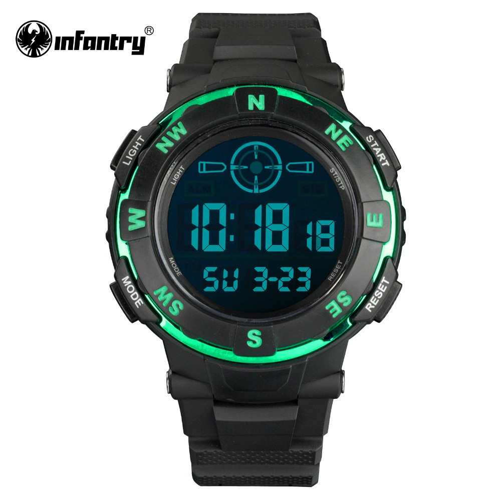 INFANTRY Mens Watches Reloj LED Digital Military Green Sports Watches Dual Time Fashion Casual Watches for Mens Boy Rubber Strap(Hong Kong)