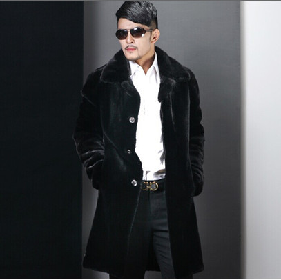 Plus Size Casual Long Black Men's Mink Coat Abrigos Mujer Overcoat Autumn Winter Thick Warm Business Formal Faux Fur Coat V539(China (Mainland))