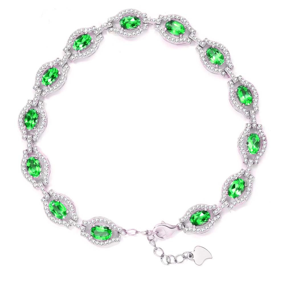 Natural Diopside Bracelet 925 Sterling Silver Russian Emerald link Women's Girl birthday gift Birthstone crystal Fine jewelry 13 - Eternal Gift store
