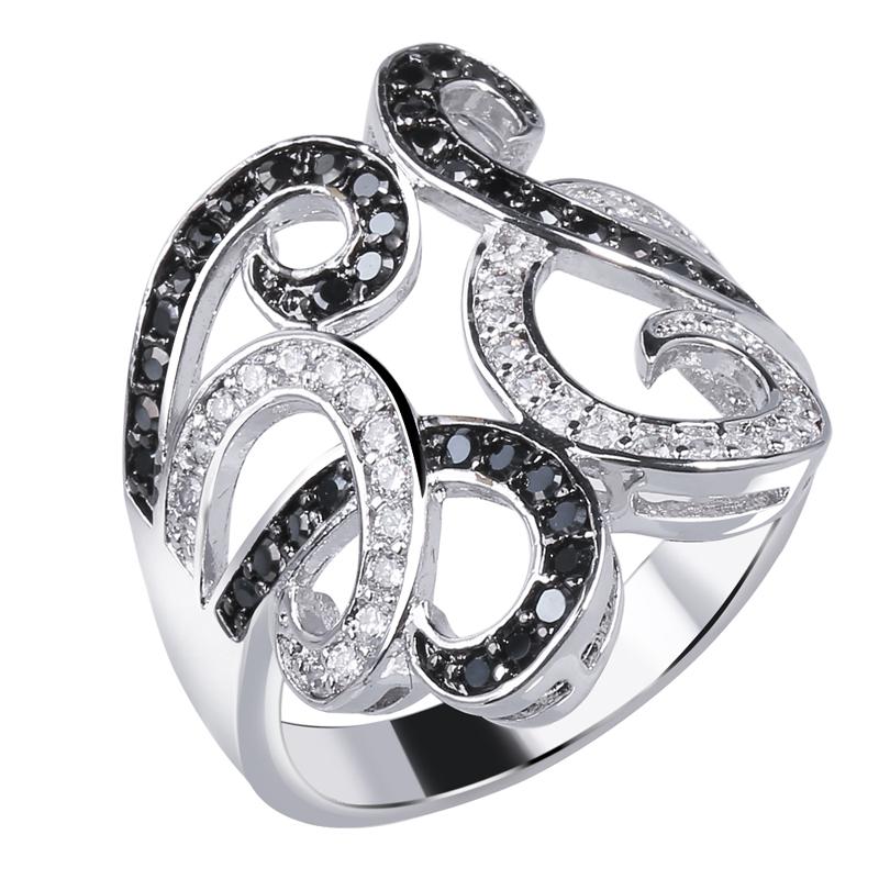 Mansaku Black & White Design 2 Tones Women Deluxe Rings AAA Cubic Zircon Hand Made Prong Setting Bridal Wedding Jewelries(China (Mainland))