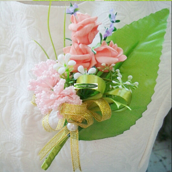 2015 Handmade Farbic Wedding Church Decor Supplier Artificial Rose Boutonnieres Groom Corsage Flower Pink Purple FL1112(China (Mainland))