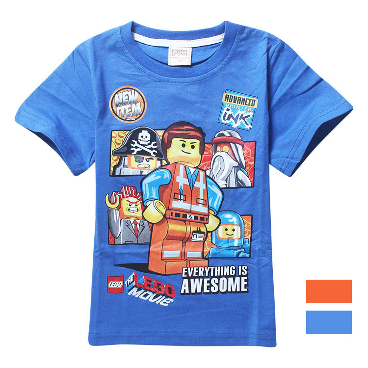 Гаджет  tee shirt Lego Movie Children Clothing Kids t Shirts Cartoon boys Casual Short Sleeve O-Neck Cotton Fit3-10Yrs Child 8071 None Детские товары