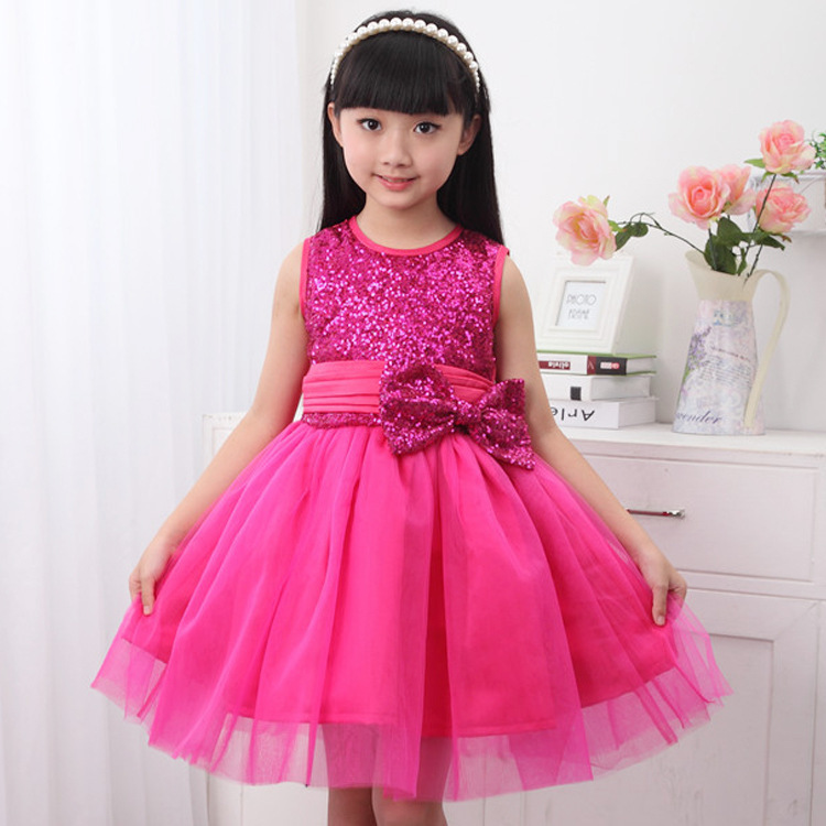 Wholesale 5pcs/lot 2015 Princess Girls Teenage Dresses Baby Girls Sequin Dress Children Clothes With Bow Free Shipping 110-150CM(China (Mainland))