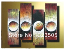 Buy 4 piece canvas wall art Modern abstract wall deco brown large handmade oil painting home decoration living room decoration for $55.00 in AliExpress store