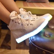 female luminous  led shoes metal decoration diamond  Winter 2015 light shoes colorful casual women shoes high-top