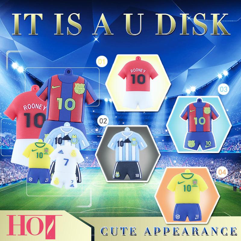 Hot soccer jerseys usb flash drive football star pen drive mini thumb drives funny pendrive 8gb memory storage 4G usb disk 16G(China (Mainland))
