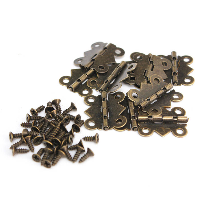 High Quality 10Pcs Cabinet Door Hinge 4 Holes Butterfly Bronze Tone 20mm x17mm Special Design(China (Mainland))