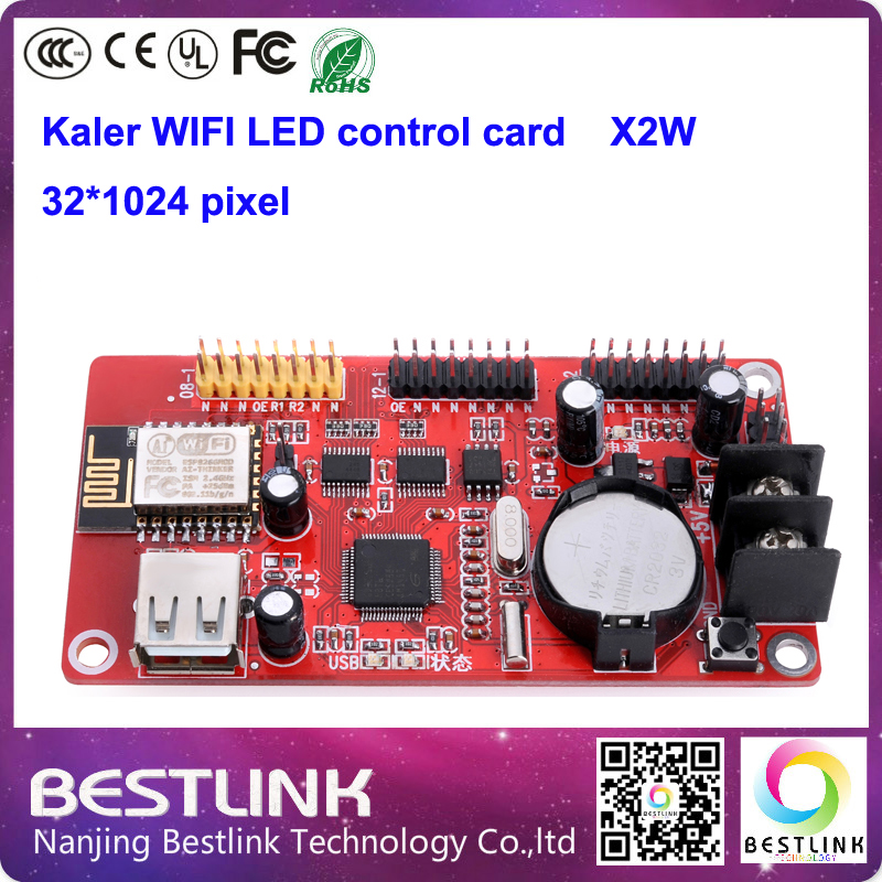 led wifi controller card supply kaler xu2w x2w led control card 32*512 pixel with usb port for p10 led moving sign programble(China (Mainland))