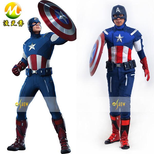 2014 Newest movie The Avengers captain america cosplay costumes on wholesale price mans superhero anime custom made(China (Mainland))