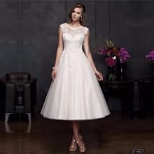 Ball Gown Backless Short Wedding Dress 2016 Scoop Sleeveless vestido de noiva curto robe de mariage Knee Length Bridal Dresses(China (Mainland))