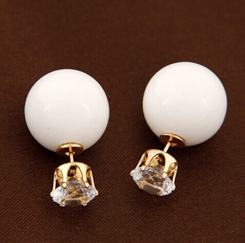 2015 New Arrival Fashion Earring Jewelry Hot Wholesale And the wind concise crystal ball beads all-match temperament Earrings(China (Mainland))