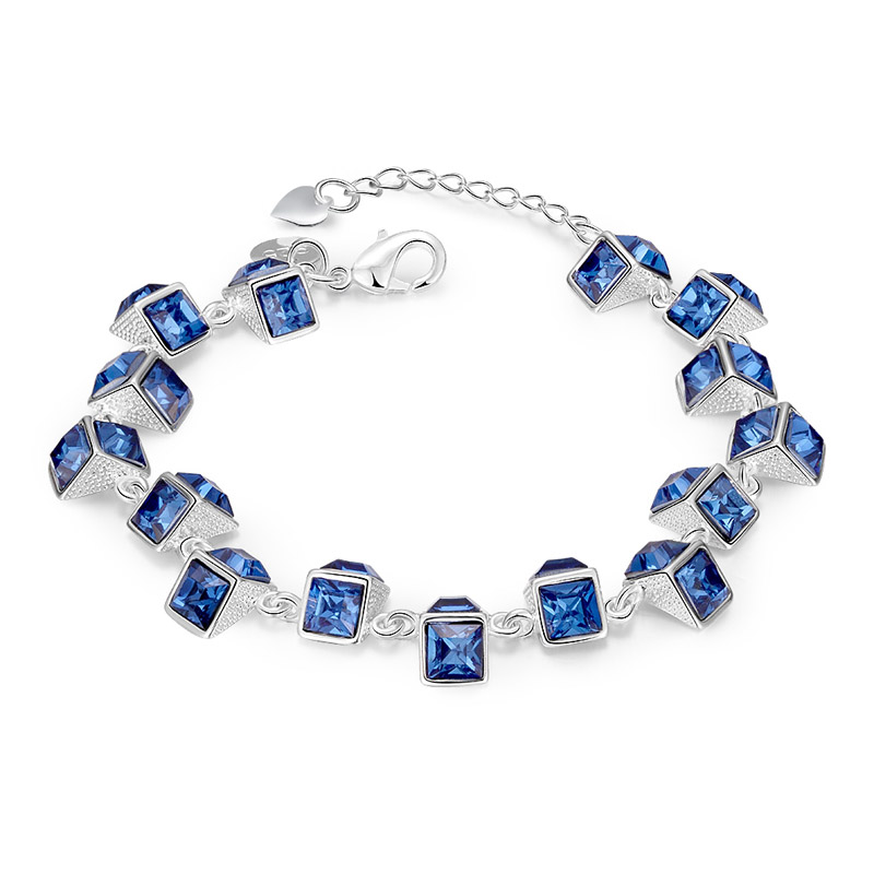 Female Square Pattern Charm Bracelets&Bangles Silver Plated Resin Rhinestone Blue Wrap Bracelet Amp Bangles For Women Jewelry(China (Mainland))