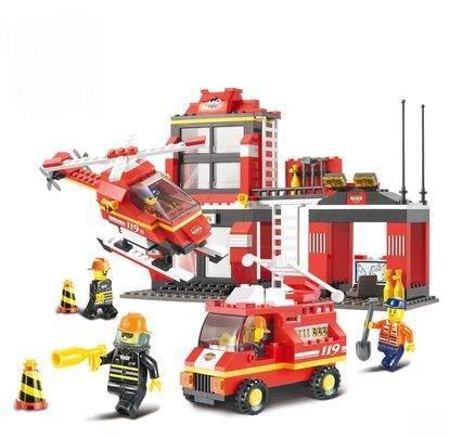 Hot Building Blocks City Fire Station truck Helicopter/Educational Bricks Toy Sluban 0225/Brinquedos Educativos Free Shipping(China (Mainland))