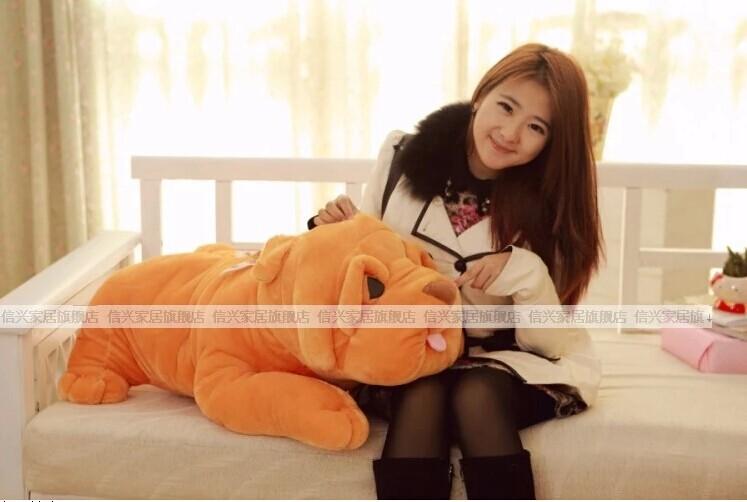 Фотография large 100cm plush toy lying shar pei dog soft throw pillow , Christmas gift w4029