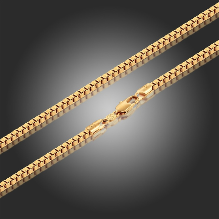18k Yellow Gold Plated long Wide 1.5mm Box Chain Necklace Cool Fashion Costume Jewelry Accessories for Men Womens(China (Mainland))