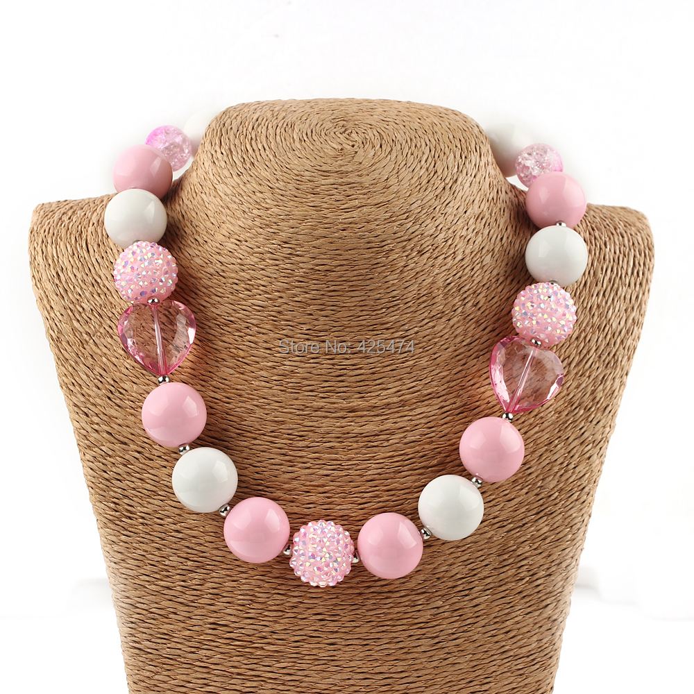 Free Shipping 1PC Newest Lovely Pink Colored Gum Ball Beads Beaded Necklace Chunky Bubblegum Jewelry Necklaces for Kids Children(China (Mainland))