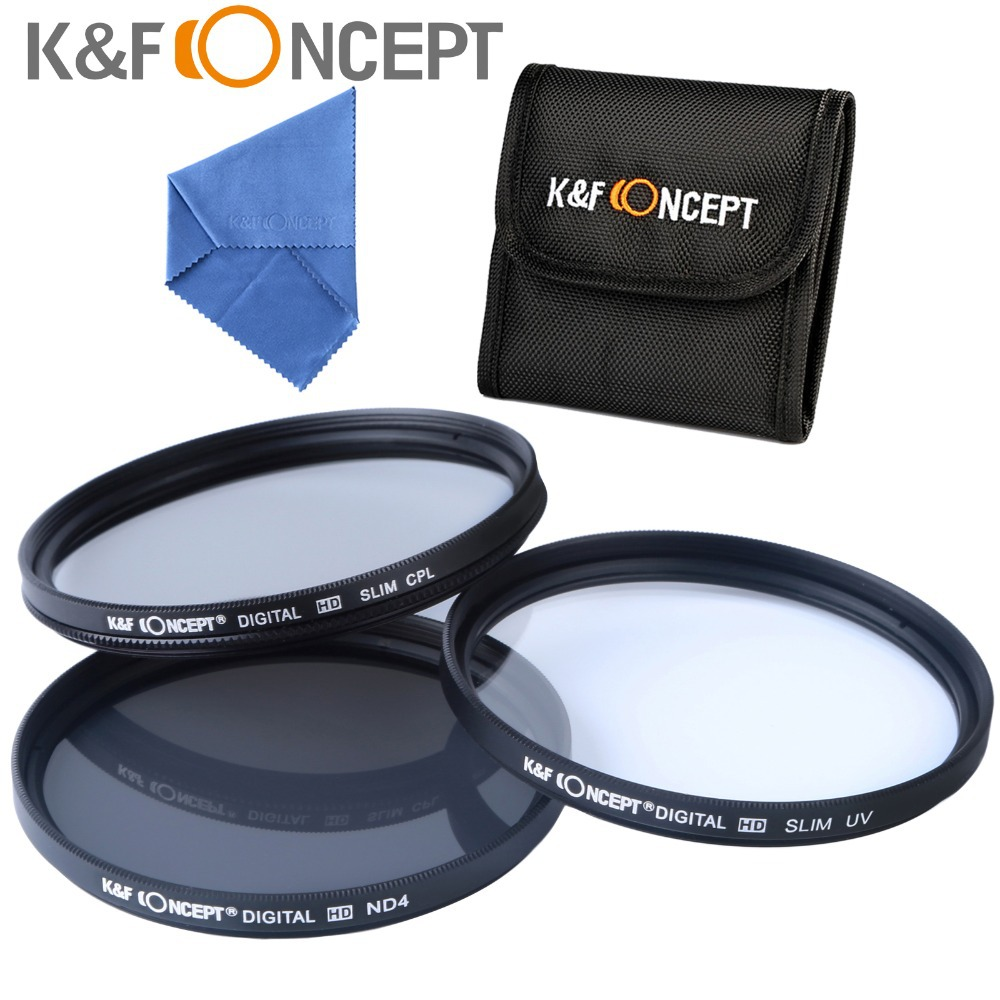 K&amp;F Concept 62mm Lens Filter Kit UV CPL Circular Polarizing ND4 for Sigma 18-200mm f/3.5-6.3 II Cleaning Cloth Free Shipping<br><br>Aliexpress