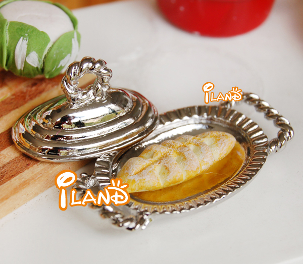 iland 1/12 Dollhouse Miniatures Kitchen Furniture Dinnerware Cooker Plate Silver Serving Tray Material Metal(China (Mainland))