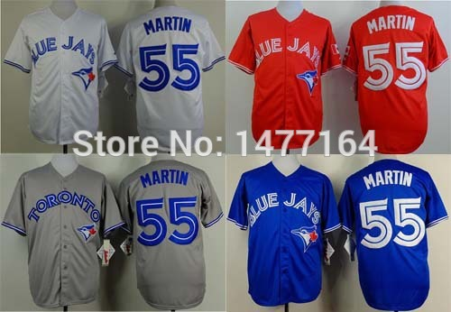 Newest!!! Toronto Blue Jays Jersey Martin Blue Alternate White Home Gray Road Red Canada Day #55 Russell Martin Baseball Jersey(China (Mainland))