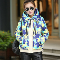 2014 Women Camouflage Thicken Down Coat Jacket Winter Female Outerwear Design Short Coat 6Colors Plus size M-XXL New Fashion