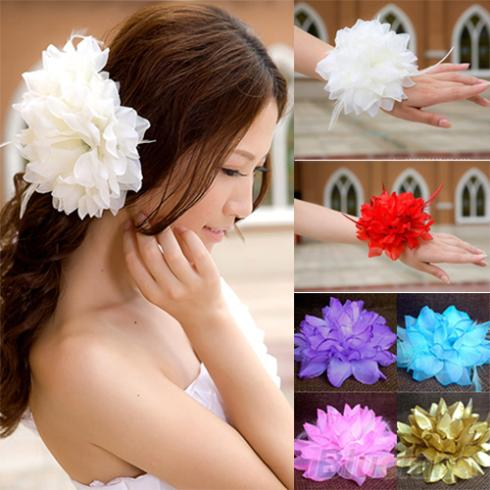 Bridal Wedding Party Flower Fascinator Elastic Pin Hair Wrist Corsage Brooch Headband Women 2JQZ(China (Mainland))