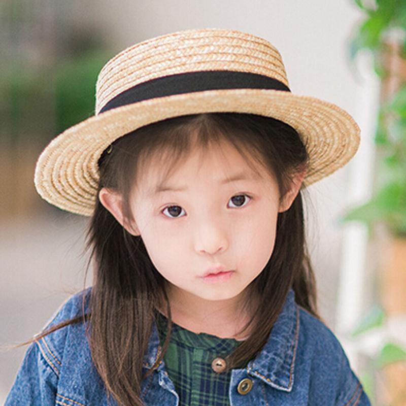 Cute Child Girls Boy Straw Sun Hat Kids Brim Beach Summer Boater Beach Ribbon Round Flat Top fedora hat(China (Mainland))