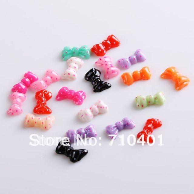 Xmas Free Shipping Wholesale/ Nails Supplier, 100pcs 3D New Colorful Bowtie DIY Acrylic UV Gel Polish Tool Nail Design/ Nail Art