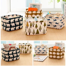 New Cartoon Linen Desk Storage Box Home Cotton Organizer Case Jewelry Cosmetic Stationery Sundries Cute Animal Tree Decor #83235(China (Mainland))