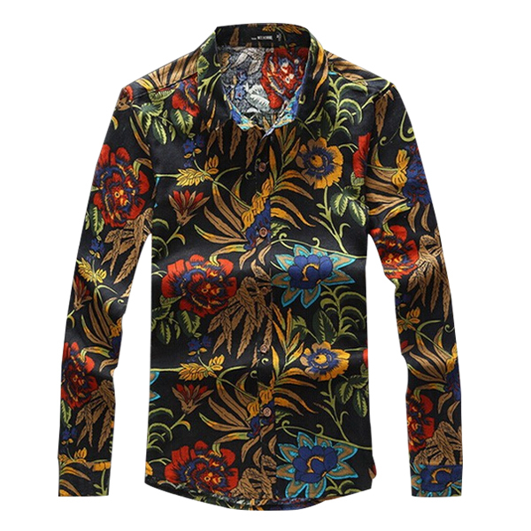 2015 Summer Men's Shirt Floral Long Sleeve Cotton+Linen Slim Fit Shirt Men Casual Fashion Flower Shirts Plus Size 5XL 6XL FHY1(China (Mainland))
